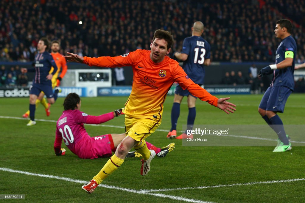 Lionel Messi of Barcelona celebrates scoring the opening goal during the UEFA Champions League Quarter Final match between Paris Saint-Germain and Barcelona FCB at Parc des Princes on April 2, 2013 in Paris, France.