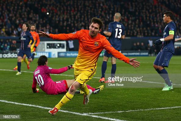 Lionel Messi of Barcelona celebrates scoring the opening goal during the UEFA Champions League Quarter Final match between Paris SaintGermain and...