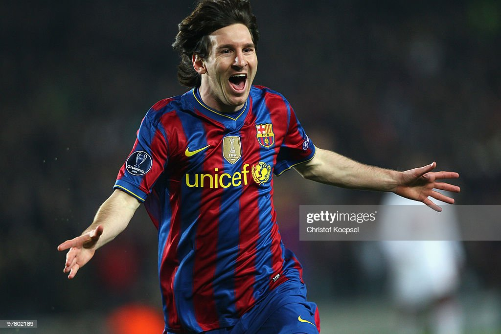 Lionel Messi of Barcelona celebrates the first goal during the UEFA Champions League round of sixteen second leg match between FC Barcelona and VfB Stuttgart at the Camp Nou stadium on March 17, 2010 in Barcelona, Spain.