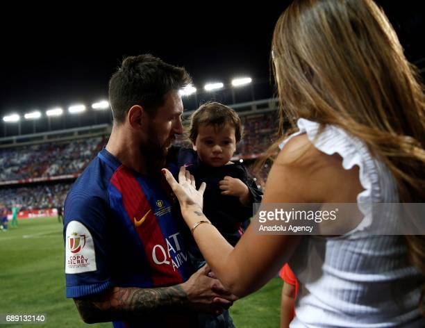 Lionel Messi of Barcelona celebrates with his family after the Copa Del Rey Final between FC Barcelona and Deportivo Alaves at Vicente Calderon...