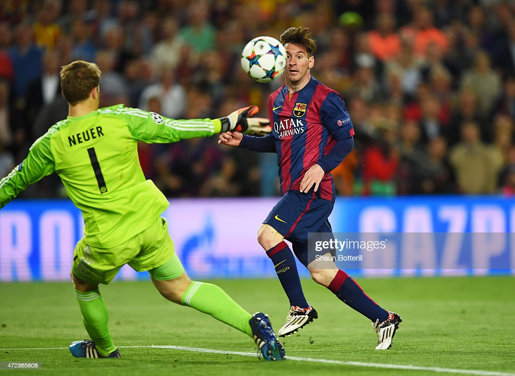 <a gi-track='captionPersonalityLinkClicked' href=/galleries/search?phrase=Lionel+Messi&family=editorial&specificpeople=453305 ng-click='$event.stopPropagation()'>Lionel Messi</a> of Barcelona chips the ball over goalkeeper <a gi-track='captionPersonalityLinkClicked' href=/galleries/search?phrase=Manuel+Neuer&family=editorial&specificpeople=764621 ng-click='$event.stopPropagation()'>Manuel Neuer</a> of Bayern Muenchen to score his team's second goal during the UEFA Champions League Semi Final, first leg match between FC Barcelona and FC Bayern Muenchen at Camp Nou on May 6, 2015 in Barcelona, Spain.
