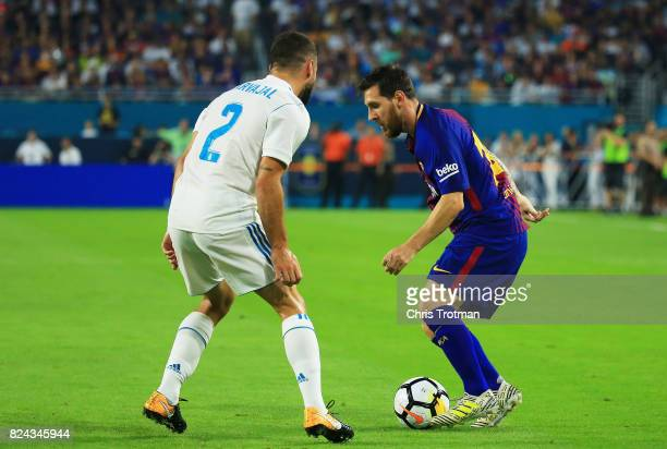 Lionel Messi of Barcelona controls the ball against Daniel Carvajal of Real Madrid in the first half during their International Champions Cup 2017...