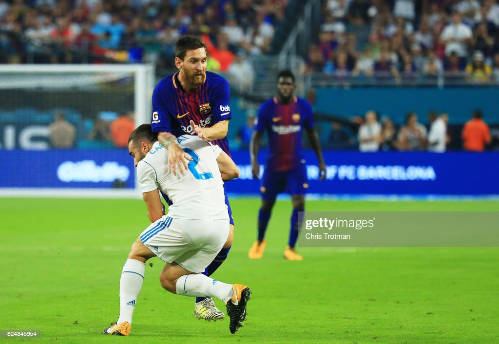 Lionel Messi #10 of Barcelona controls the ball against Daniel Carvajal #2 of Real Madrid in the first half during their International Champions Cup 2017 match at Hard Rock Stadium on July 29, 2017 in Miami Gardens, Florida.
