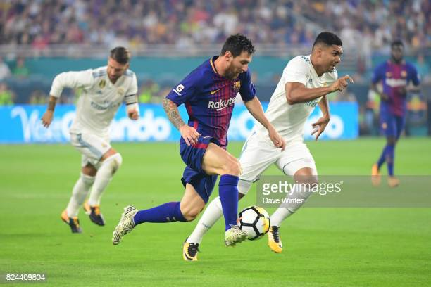 Lionel Messi of Barcelona during the International Champions Cup match between Barcelona and Real Madrid at Hard Rock Stadium on July 29 2017 in...