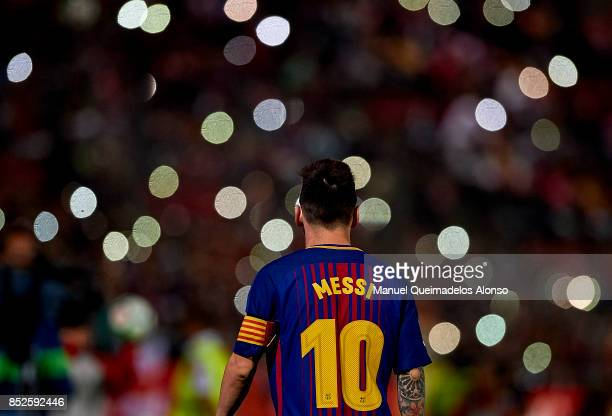 Lionel Messi of Barcelona during the La Liga match between Girona and Barcelona at Municipal de Montilivi Stadium on September 23 2017 in Girona Spain