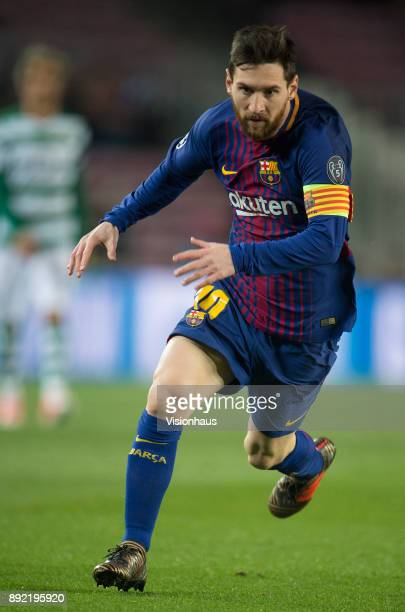 Lionel Messi of Barcelona during the UEFA Champions League Group D match between Barcelona and Sporting Lisbon at the Camp Nou Stadium on December 5...