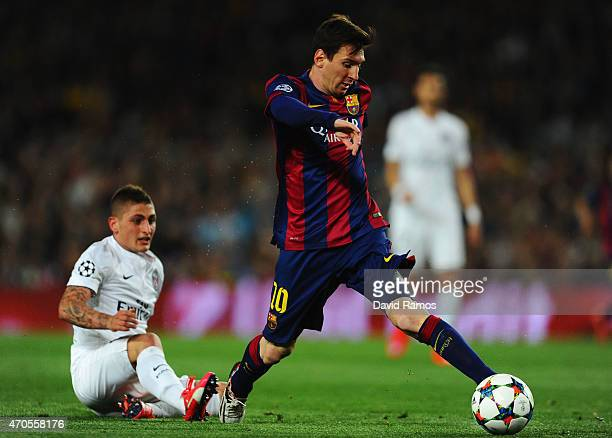 Lionel Messi of Barcelona evades Marco Verratti of PSG during the UEFA Champions League Quarter Final second leg match between FC Barcelona and Paris...