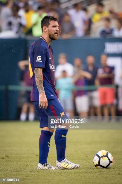 Lionel Messi of Barcelona eyes up the penalty kick shot during the International Champions Cup match between FC Barcelona and Juventus at the MetLife...