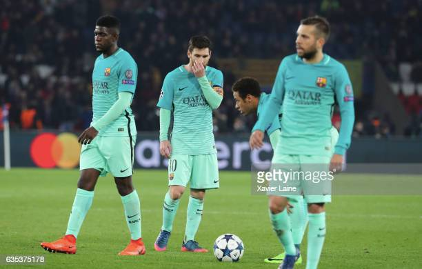 Lionel Messi of Barcelona FC is disapointed with teammattes during the UEFA Champions League Round of 16 first leg match between Paris SaintGermain...