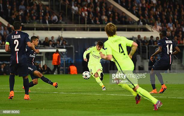 Lionel Messi of Barcelona hits the post during the UEFA Champions League Quarter Final First Leg match between Paris SaintGermain and FC Barcelona at...
