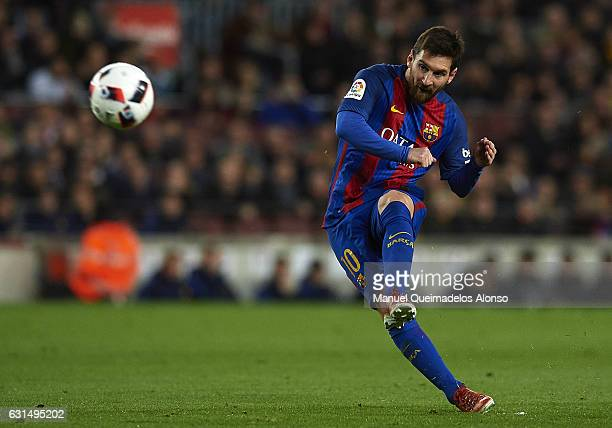 Lionel Messi of Barcelona in action during the Copa del Rey Round of 16 Second Leg match between FC Barcelona and Athletic Club at Camp Nou on...
