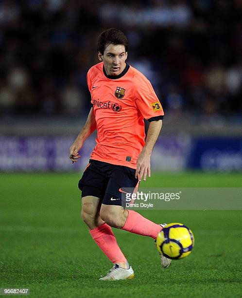 Lionel Messi of Barcelona in action during the La Liga match between Tenerife and Barcelona at the Heliodoro Rodriguez Lopez stadium on January 10...