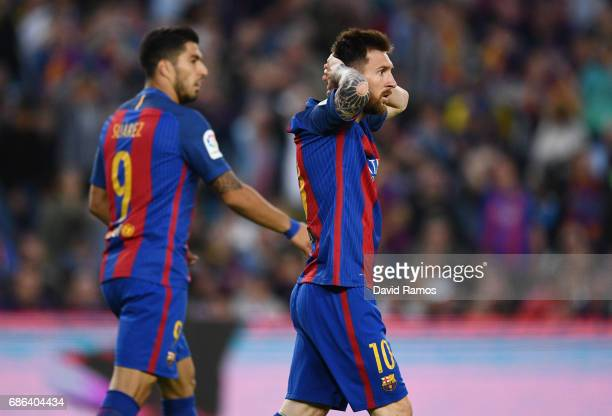 Lionel Messi of Barcelona looks dejected during the La Liga match between Barcelona and Eibar at Camp Nou on 21 May 2017 in Barcelona Spain