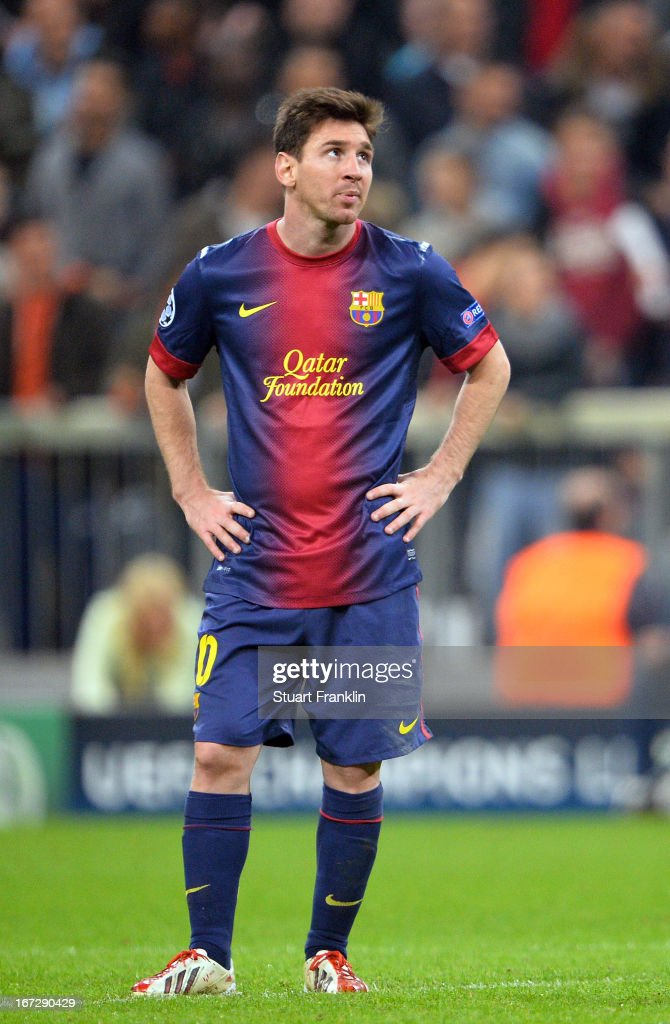 <a gi-track='captionPersonalityLinkClicked' href=/galleries/search?phrase=Lionel+Messi&family=editorial&specificpeople=453305 ng-click='$event.stopPropagation()'>Lionel Messi</a> of Barcelona looks dejected during the UEFA Champions League semi final first leg match between FC Bayern Muenchen and FC Barcelona at Allianz Arena on April 23, 2013 in Munich, Germany.