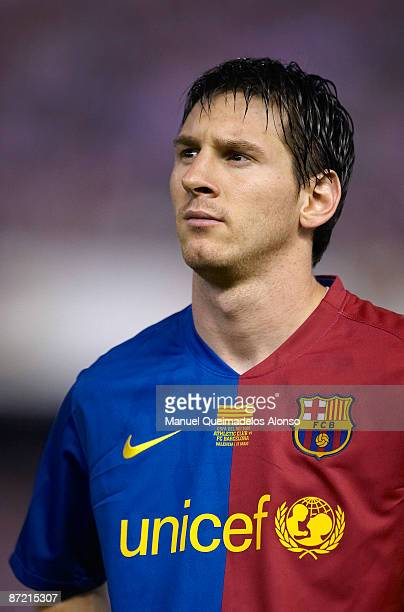 Lionel Messi of Barcelona looks on before the Copa del Rey final match between Barcelona and Athletic Bilbao at the Mestalla stadium on May 13 2009...