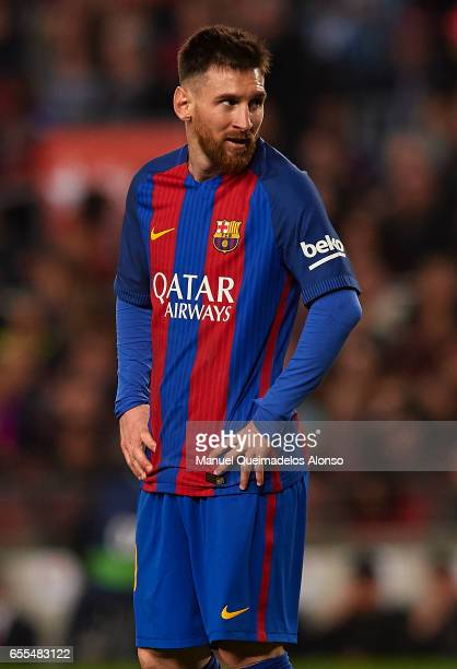 Lionel Messi of Barcelona looks on during the La Liga match between FC Barcelona and Valencia CF at Camp Nou Stadium on March 19 2017 in Barcelona...