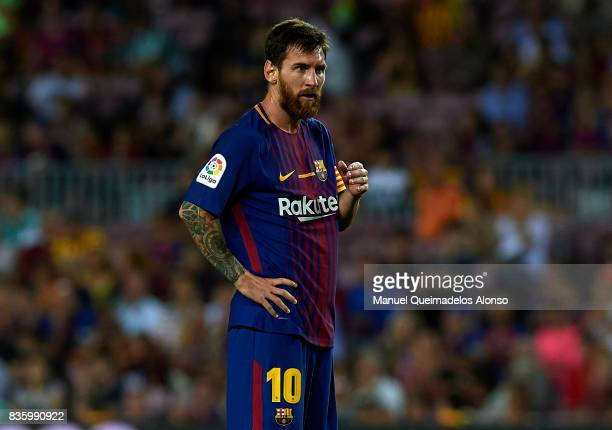 Lionel Messi of Barcelona looks on during the La Liga match between Barcelona and Real Betis at Camp Nou on August 20 2017 in Barcelona Spain