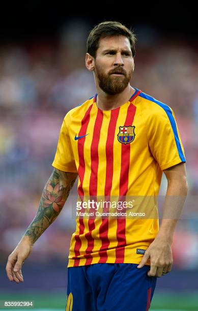 Lionel Messi of Barcelona looks on prior to the La Liga match between Barcelona and Real Betis at Camp Nou on August 20 2017 in Barcelona Spain