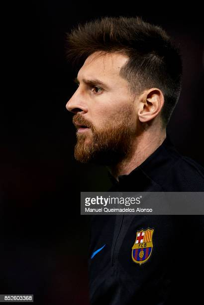 Lionel Messi of Barcelona looks on prior to the La Liga match between Girona and Barcelona at Municipal de Montilivi Stadium on September 23 2017 in...