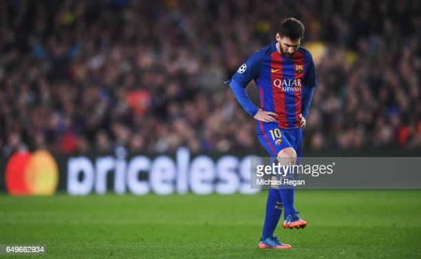 Lionel Messi of Barcelona looks thoughtful during the UEFA Champions League Round of 16 second leg match between FC Barcelona and Paris SaintGermain...
