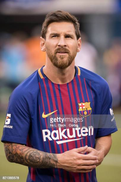 Lionel Messi of Barcelona on the pitch with the new Rakuten jersey during the International Champions Cup match between FC Barcelona and Juventus at...