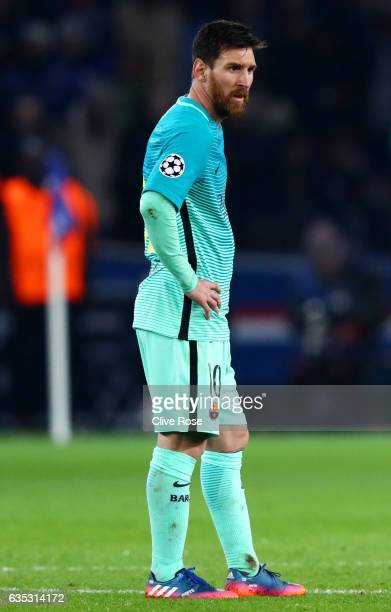 Lionel Messi of Barcelona reacts after conceding a fourth goal during the UEFA Champions League Round of 16 first leg match between Paris...