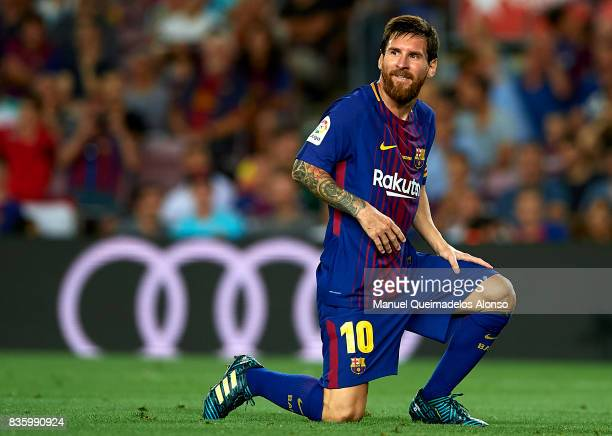Lionel Messi of Barcelona reacts as he fails to score during the La Liga match between Barcelona and Real Betis at Camp Nou on August 20 2017 in...
