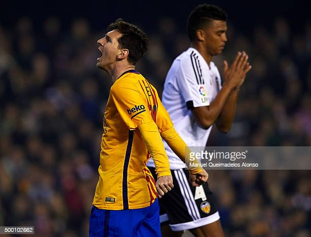 Lionel Messi of Barcelona reacts during the La Liga match between Valencia CF and FC Barcelona at Estadi de Mestalla on December 05 2015 in Valencia...