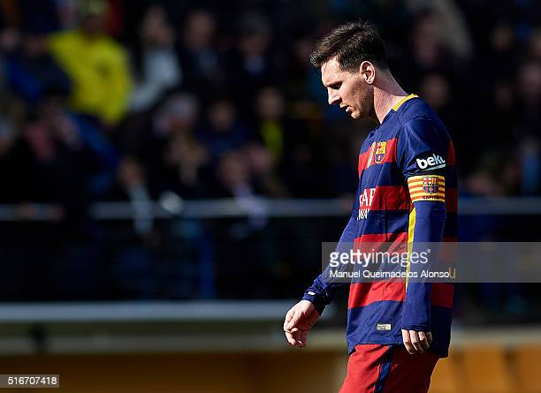 Lionel Messi of Barcelona reacts during the La Liga match between Villarreal CF and FC Barcelona at El Madrigal on March 20 2016 in Villarreal Spain