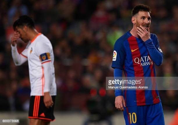 Lionel Messi of Barcelona reacts during the La Liga match between FC Barcelona and Valencia CF at Camp Nou Stadium on March 19 2017 in Barcelona Spain