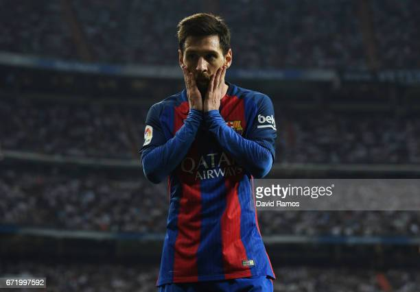 Lionel Messi of Barcelona reacts during the La Liga match between Real Madrid CF and FC Barcelona at Estadio Bernabeu on April 23 2017 in Madrid Spain