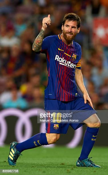 Lionel Messi of Barcelona reacts during the La Liga match between Barcelona and Real Betis at Camp Nou on August 20 2017 in Barcelona Spain