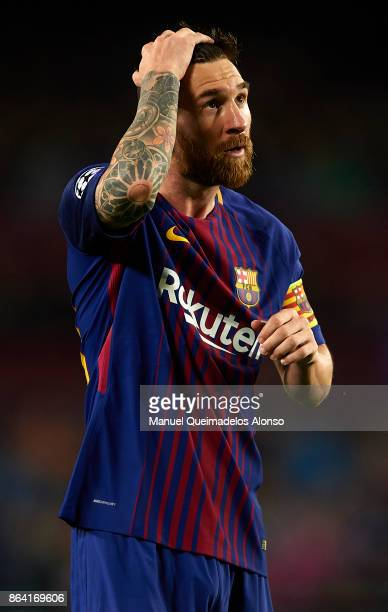 Lionel Messi of Barcelona reacts during the UEFA Champions League group D match between FC Barcelona and Olympiakos Piraeus at Camp Nou on October 18...