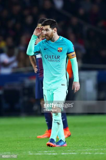 Lionel Messi of Barcelona reacts during the UEFA Champions League Round of 16 first leg match between Paris SaintGermain and FC Barcelona at Parc des...