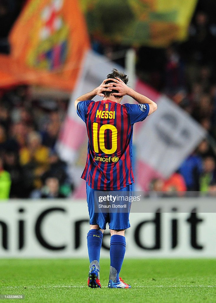 Lionel Messi of Barcelona reacts during the UEFA Champions League Semi Final, second leg match between FC Barcelona and Chelsea FC at Camp Nou on April 24, 2012 in Barcelona, Spain.