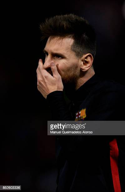 Lionel Messi of Barcelona reacts prior to the La Liga match between Girona and Barcelona at Municipal de Montilivi Stadium on September 23 2017 in...