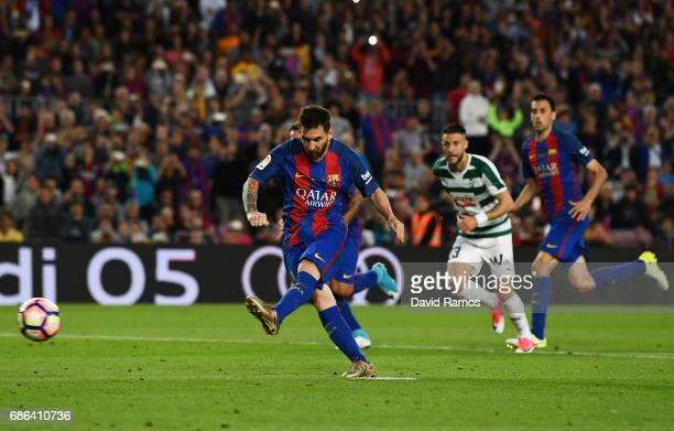 Lionel Messi of Barcelona scores a penalty during the La Liga match between Barcelona and Eibar at Camp Nou on 21 May 2017 in Barcelona Spain