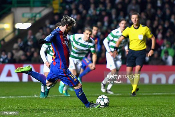 Lionel Messi of Barcelona scores his sides second goal from the penalty spot during the UEFA Champions League Group C match between Celtic FC and FC...