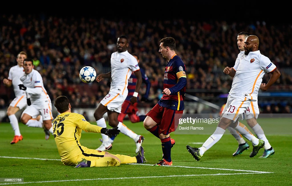 Lionel Messi of Barcelona scores his teams second goal during the UEFA Champions League Group E match between FC Barcelona and AS Roma at Camp Nou on...