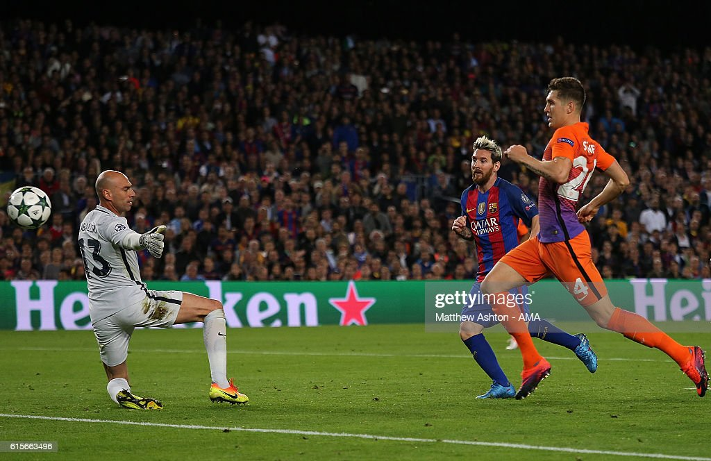 Lionel Messi of Barcelona scores his team's third goal to seal his hat-trick and make the score 3-0 during the UEFA Champions League match between FC Barcelona and Manchester City FC at Camp Nou on October 19, 2016 in Barcelona.