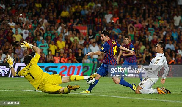 Lionel Messi of Barcelona scores past Iker Casillas of Real Madrid during the Super Cup second leg match between Barcelona and Real Madrid at Nou...