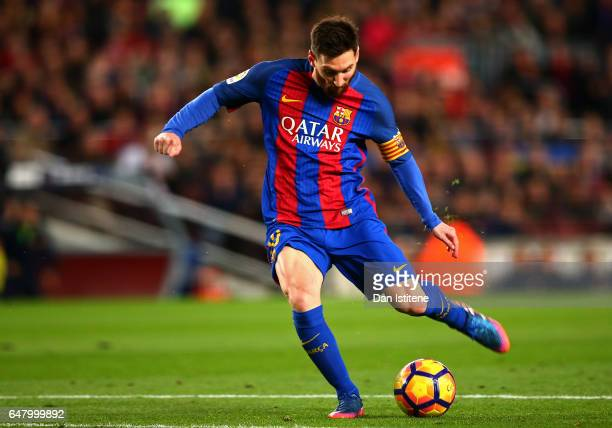 Lionel Messi of Barcelona scores the opening goal during the La Liga match between FC Barcelona and RC Celta de Vigo at the Camp Nou on March 4 2017...