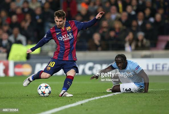 Lionel Messi of Barcelona shoots at goal during the UEFA Champions League Round of 16 match between Barcelona and Manchester City at Camp Nou on...