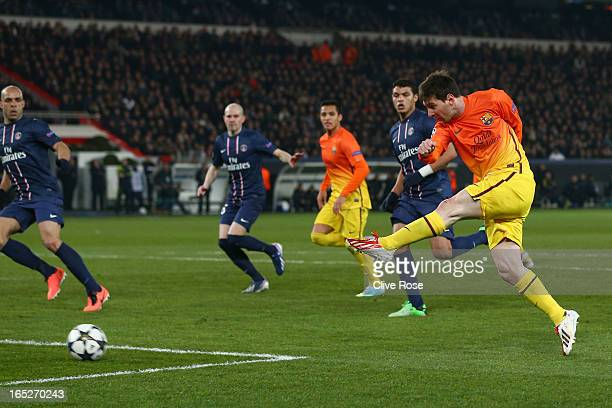 Lionel Messi of Barcelona shoots to score the opening goal during the UEFA Champions League Quarter Final match between Paris SaintGermain and...