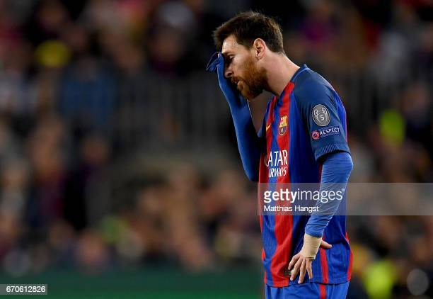 Lionel Messi of Barcelona shows his disappointment during the UEFA Champions League Quarter Final second leg match between FC Barcelona and Juventus...