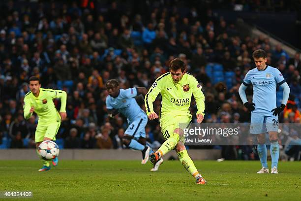 Lionel Messi of Barcelona's penalty is saved by Joe Hart of Manchester City during the UEFA Champions League Round of 16 match between Manchester...