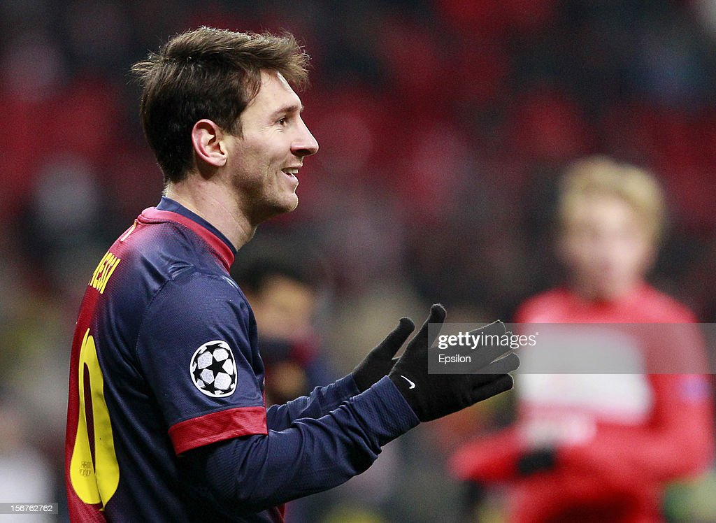 <a gi-track='captionPersonalityLinkClicked' href=/galleries/search?phrase=Lionel+Messi&family=editorial&specificpeople=453305 ng-click='$event.stopPropagation()'>Lionel Messi</a> of FC Barcelon reacts a during the UEFA Champions League group G match between FC Spartak Moscow and FC Barcelona at the Luzhniki Stadium on November 20, 2012 in Moscow, Russia.