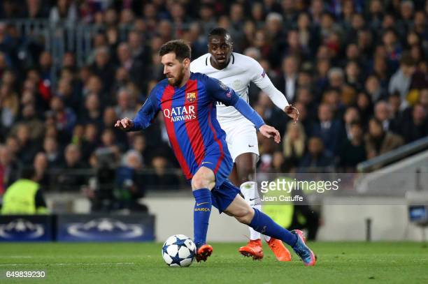 Lionel Messi of FC Barcelona and Blaise Matuidi of PSG in action during the UEFA Champions League Round of 16 second leg match between FC Barcelona...