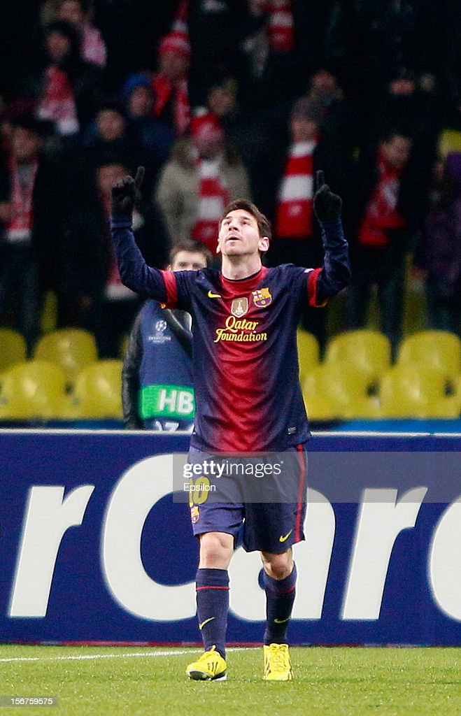 <a gi-track='captionPersonalityLinkClicked' href=/galleries/search?phrase=Lionel+Messi&family=editorial&specificpeople=453305 ng-click='$event.stopPropagation()'>Lionel Messi</a> of FC Barcelona celebrates after scoring a goal during the UEFA Champions League group G match between FC Spartak Moscow and FC Barcelona at the Luzhniki Stadium on November 20, 2012 in Moscow, Russia.