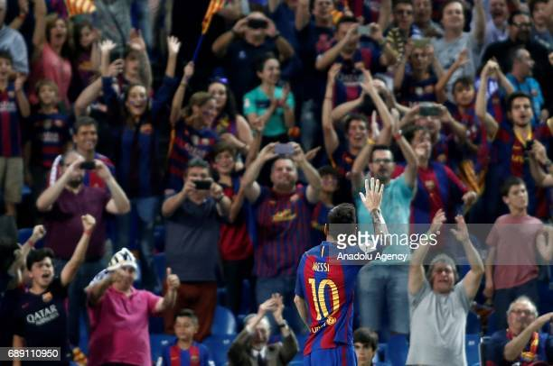 Lionel Messi of FC Barcelona celebrates after scoring a goal during the Copa Del Rey Final between FC Barcelona and Deportivo Alaves at Vicente...